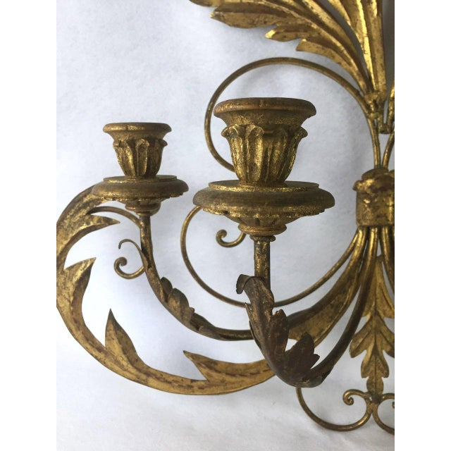 Gold Hollywood Regency Candle Sconce For Sale - Image 8 of 11