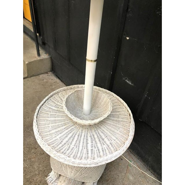 Wicker 1960s White Wicker Turtle Floor Lamp For Sale - Image 7 of 11