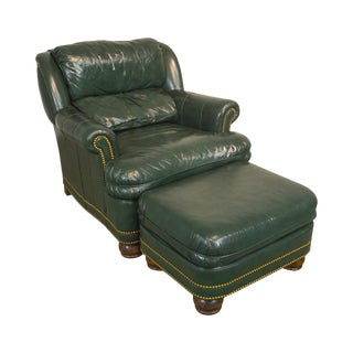 Hancock & Moore Green Leather Club Chair With Ottoman