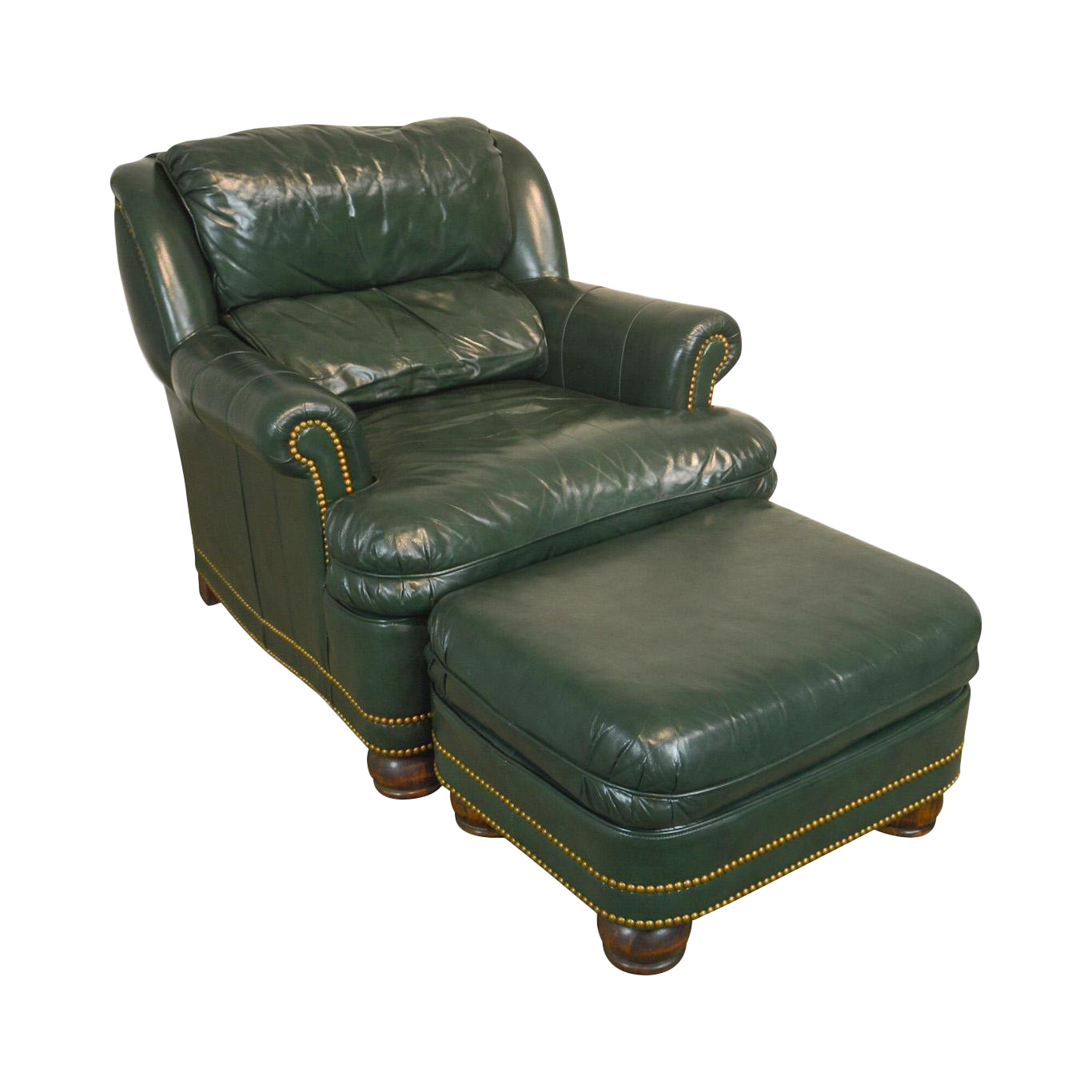 Incroyable Hancock U0026 Moore Green Leather Club Chair With Ottoman
