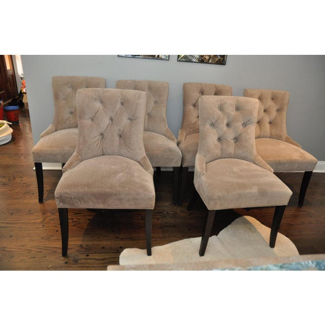 Velvet Upholstered Dining Chairs - Set of 6 - Image 5 of 8