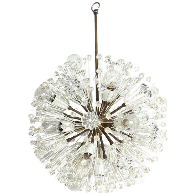 """1950s Emil Stejnar """"Snowball"""" Brass and Hand Cut Crystal Hanging Pendant For Sale"""