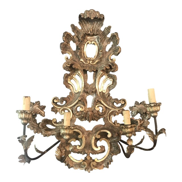 Large French Rococo Style Gold Giltwood Sconce '1 of 2' For Sale