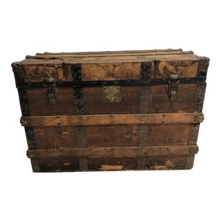Vintage Wood Flat Top Steamer Trunk For Sale