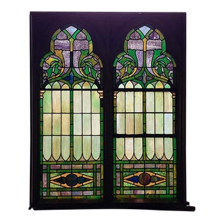 Late 19th Century Traditional Green Blue Purple and Yellow Stained Glass Windows - a Pair For Sale