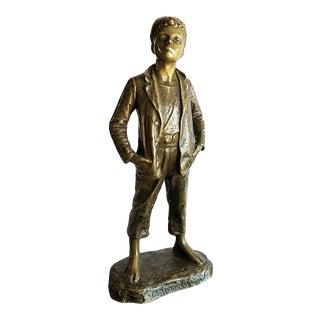 19th Century Antique Karl Hackstock Brass Monochrome Bronze Boy Figurine Statue For Sale