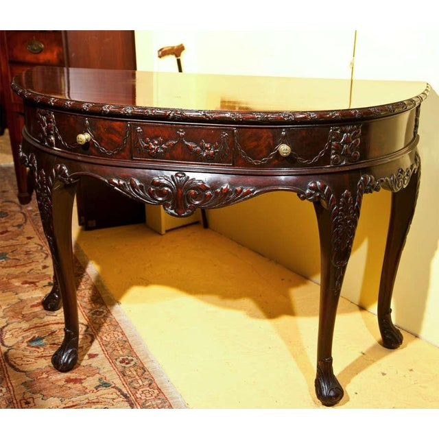 English Georgian Style Demilune Console Table - Image 2 of 8