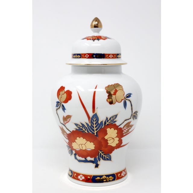Metal Vintage Ginger Jar With Hand-Painted Rust, Blue and Gold Flowers For Sale - Image 7 of 11