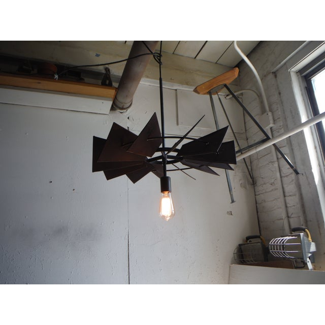 Vintage Rustic Windmill Pendant Light For Sale - Image 5 of 6
