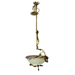 French Art Nouveau Brass and Art Glass Hanging Light Fixture