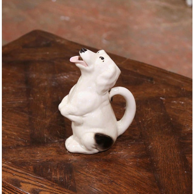 French 19th Century French Painted Barbotine Ceramic Dog Pitcher From Sarreguemines For Sale - Image 3 of 9