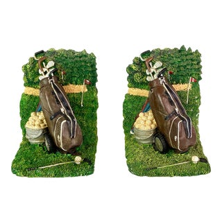 Golf Sports Green Ceramic Bookends - Pair of 2 For Sale