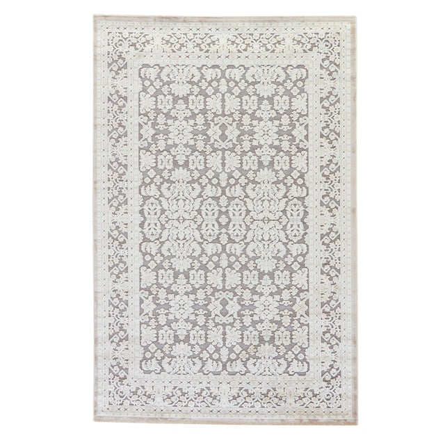 "Jaipur Living Regal Damask Gray & White Area Rug - 9'6"" X 13'6"" For Sale"