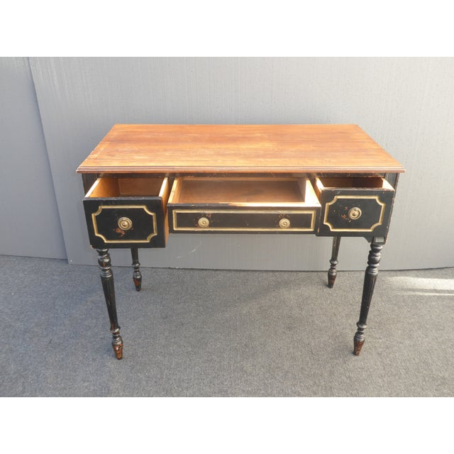 French Vintage French Provincial Black & Gold Gilt Writing Desk For Sale - Image 3 of 11