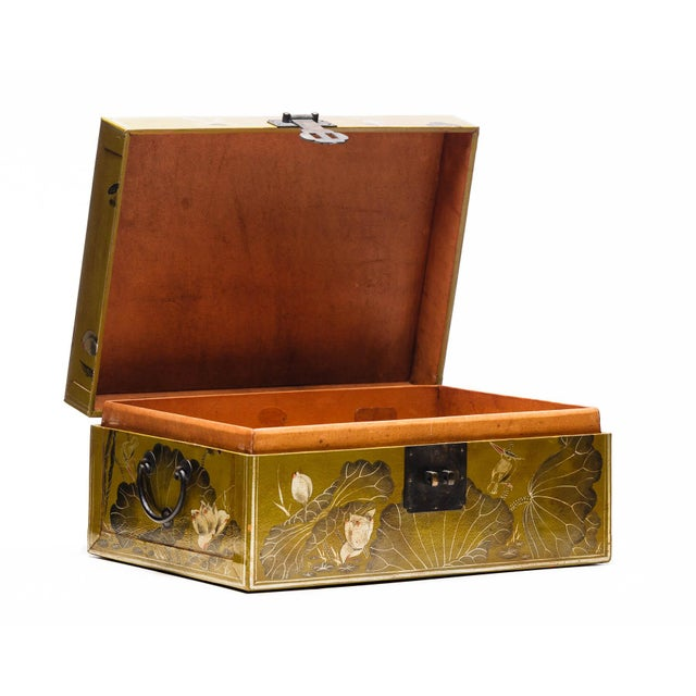 Lawrence & Scott Hand-Painted Lotus Scene Chartreuse Leather Box on Patinated Brass Stand as Side Table by Lawrence & Scott For Sale - Image 4 of 13