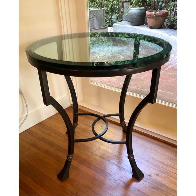Kreiss Luxury Home Iron & Glass Palomino Side End Occasional Table. One of two available.