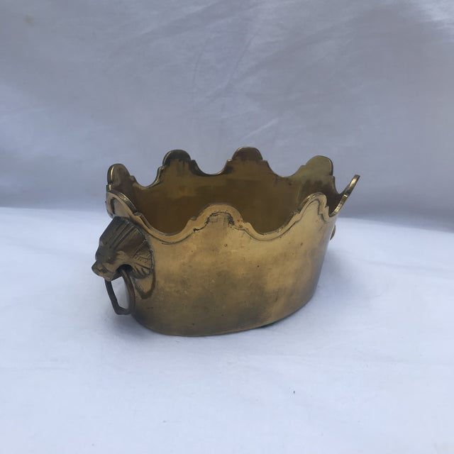 Brass Scalloped Rim Planter With Lion's Head Handles For Sale - Image 4 of 7
