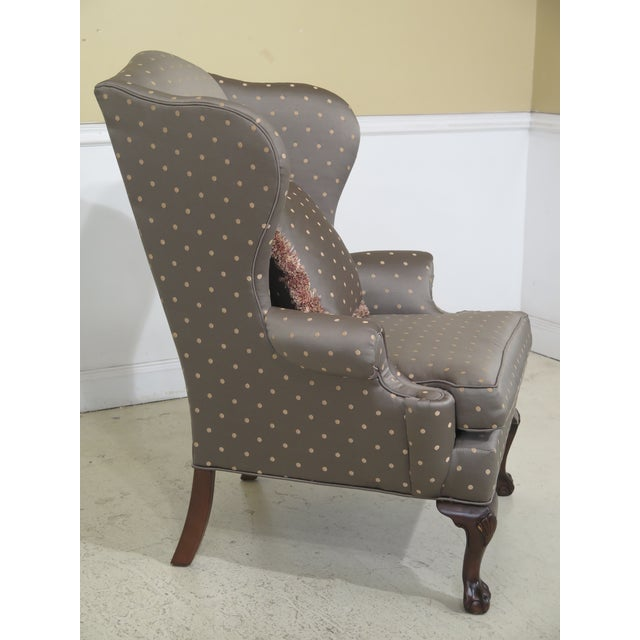 Chippendale 1990s Vintage Ethan Allen Ball & Claw Mahogany Wing Chairs- A Pair For Sale - Image 3 of 11