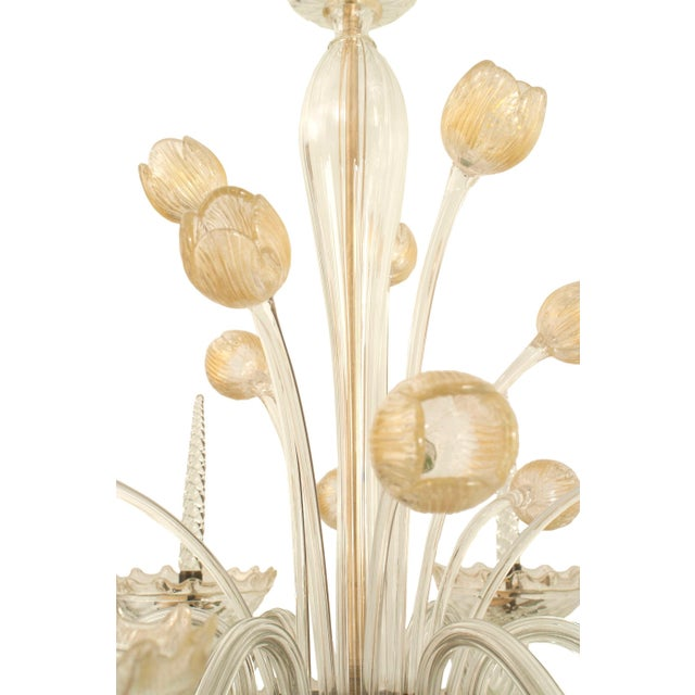Italian 1940s Italian Murano Gold Dusted Chandelier Signed Veronese Seguso For Sale - Image 3 of 6