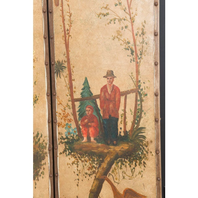 """Vintage Painted Chinoiserie Screen. Each panel measures 18"""" x 78""""."""