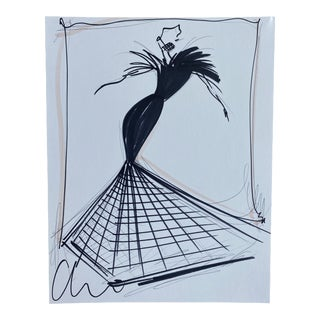 """Black Feather and Crinoline Evening Gown"" Original Christian Siriano Sketch"