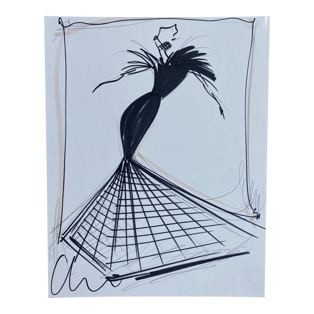 """""""Black Feather and Crinoline Evening Gown"""" Original Christian Siriano Sketch For Sale"""