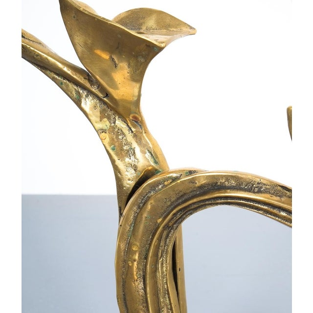 Brass Art Nouveau Brass Candle Stick Holder Candelabra, Austria Circa 1910 For Sale - Image 7 of 8