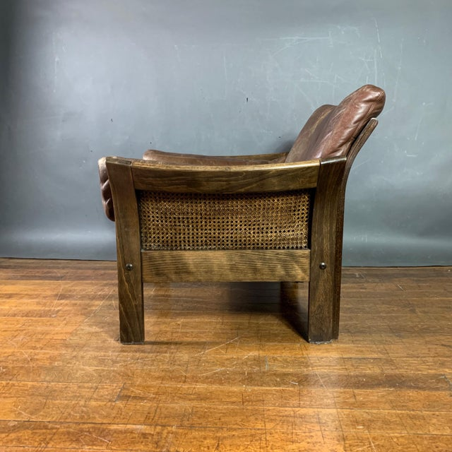 Mid-Century Modern Danish Leather Lounge Chair With French Cane Sides, Late 1970s For Sale - Image 3 of 10