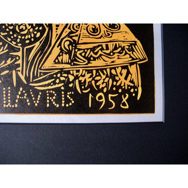 1950s Mid-Century Expressionist Lithograph of a Woodcut by Pablo Picasso for Vallauris, 1958 For Sale - Image 5 of 9