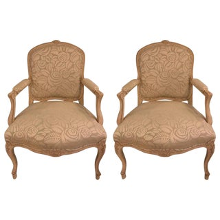 Louis XV Style Bergere Arm Chairs - a Pair For Sale