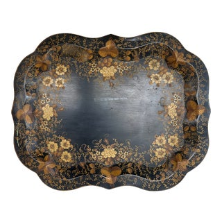 Floral Tole Tray For Sale