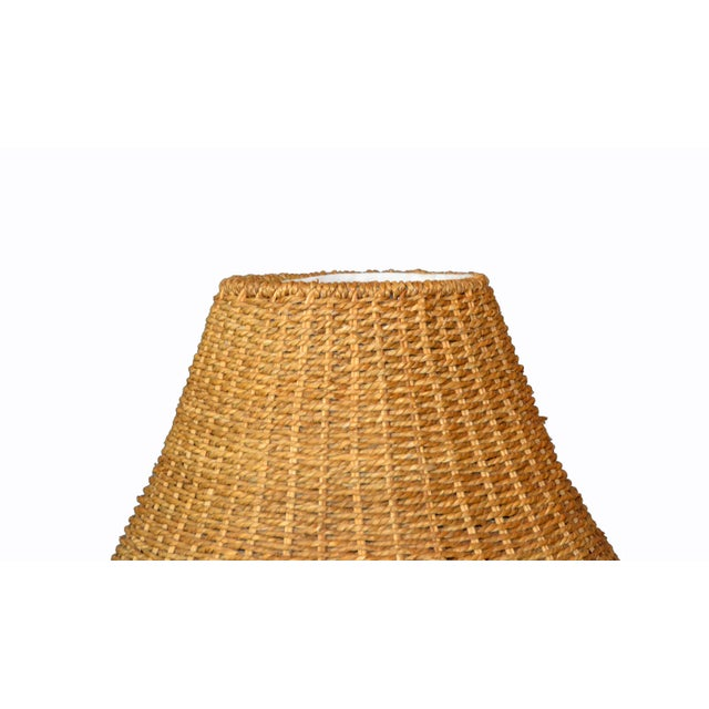 Boho Chic Mid-Century Modern Round Hand-Woven Rattan, Wicker White Lined Fabric Lamp Shade For Sale - Image 3 of 11