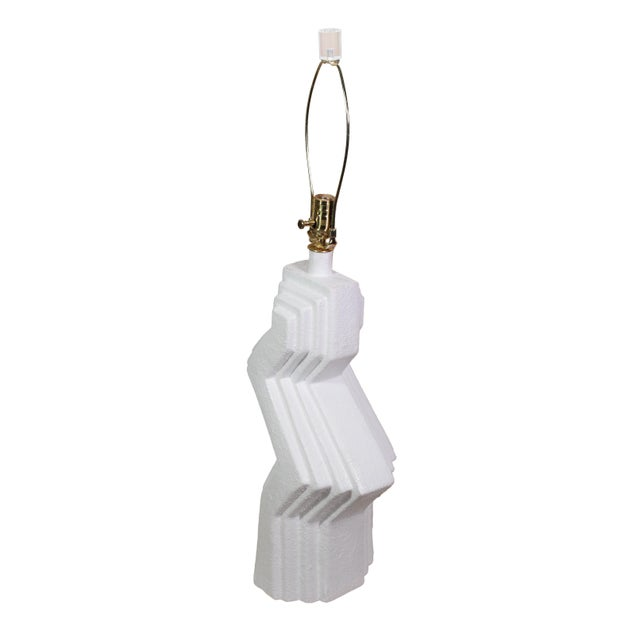 70's Plaster Ziggurat Lamp With Lucite Finial For Sale In Los Angeles - Image 6 of 10