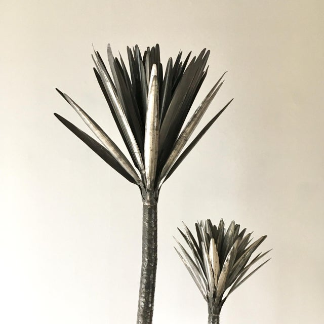 Metal Palm Tree Floor Standing Sculpture 1970's For Sale - Image 4 of 7