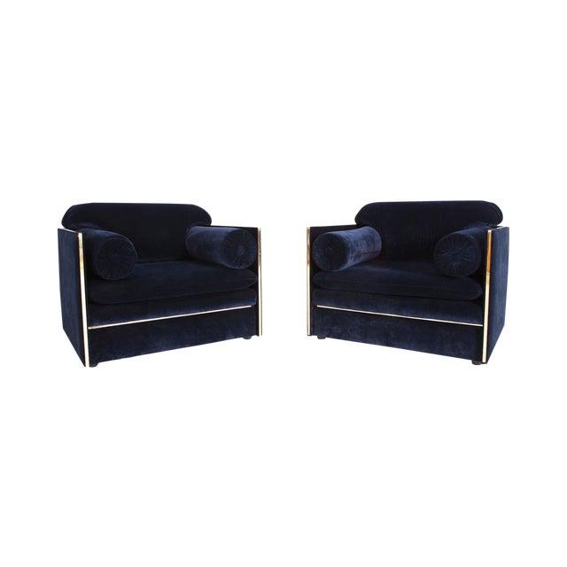 Italian Glam Armchairs in Dark Blue Velvet & Brass For Sale