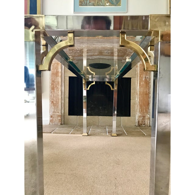Mid Century Chrome and Glass Console / Sofa Table - Image 4 of 11