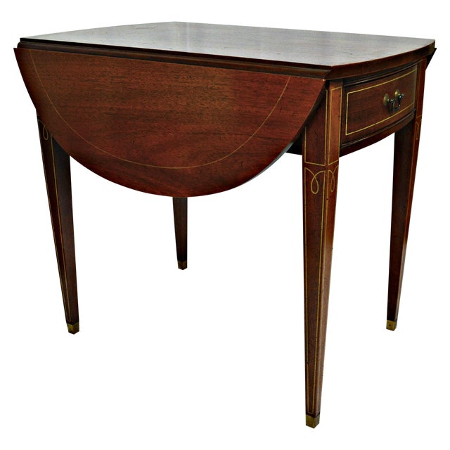 Hickory Chair Co. Oval Wood Side Table with Wings For Sale