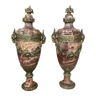 Pair 19th Century French Louis XVI Jasper Cassolettes ~ Mantel Urns With Bronze Mounts For Sale