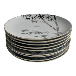 Platinum Bamboo Dessert Plates - Set of 9 For Sale