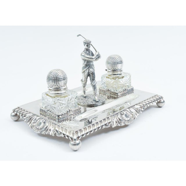 English Sheffield silver plated or copper footed desk inkwells with stand accessory. The ink stand is in excellent...