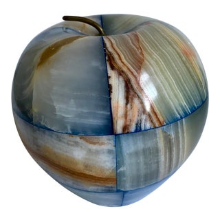 Vintage Onyx Apple Paperweight For Sale
