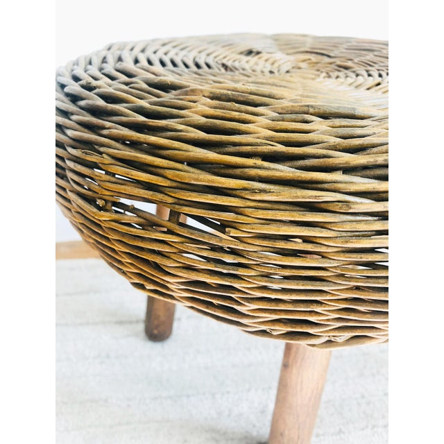 Mid 20th Century Vintage Tony Paul Wicker Stool For Sale - Image 5 of 10