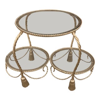 Hollywood Regency Gold Gilt Rope and Tassel 2 Tier Side Table For Sale
