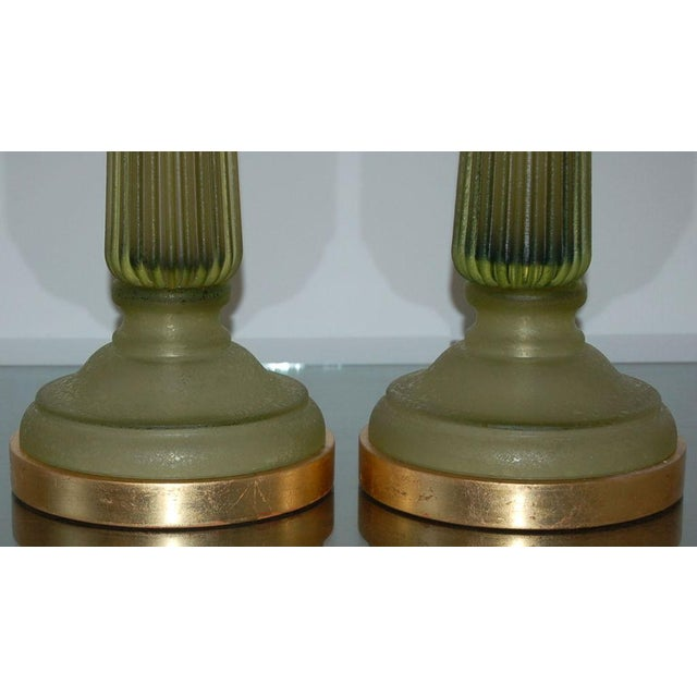 Brass Marbro Murano Glass Table Lamps Green For Sale - Image 7 of 10