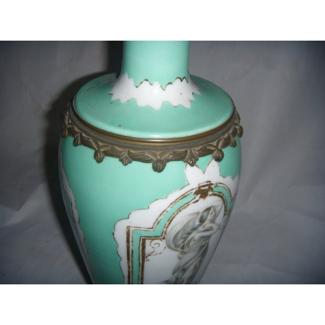 Neoclassical Teal Porcelain & Brass Lamp - Image 11 of 11