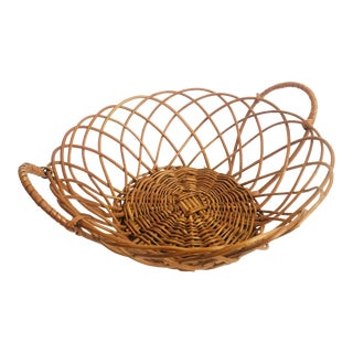 Vintage Round Wicker Tray With Handles For Sale