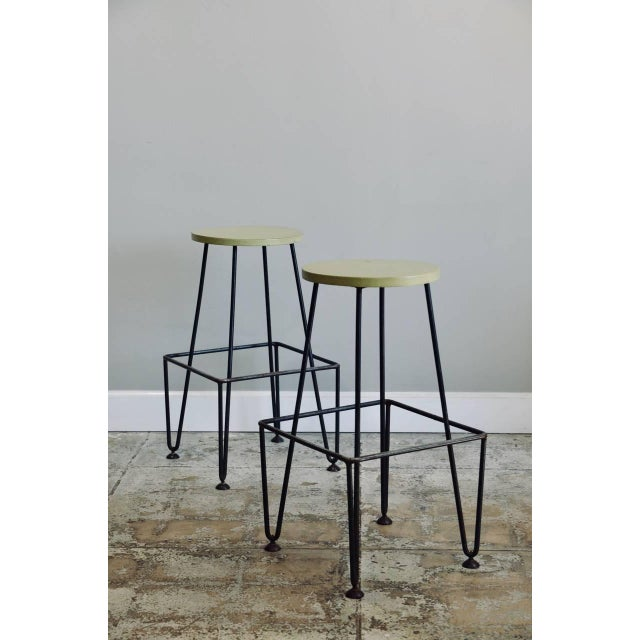 Set of Four Industrial Counter-Height Bar Stools For Sale In Los Angeles - Image 6 of 8