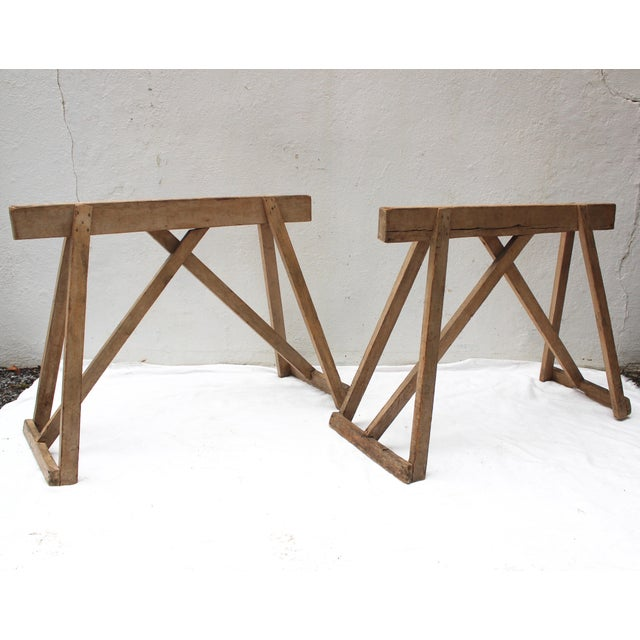 Country 19th Century French Country Wood Saw Horse Table Bases - a Pair For Sale - Image 3 of 13