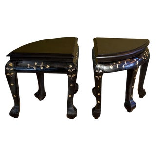 Pair of French Ebonized Stools For Sale