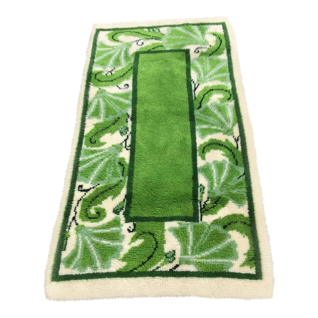 20th Century Scandinavian Modern Green and White Paisley Wool Rya Shag Rug For Sale